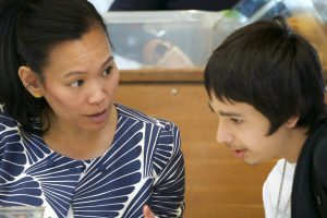 Multnomah County Deputy District Attorney Shannon Erskine meets with a student to talk about career planning.