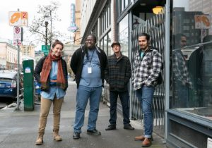 From left Central City Concern's LEAD® case managers: Juliana DePietro, Hubert Mathews, Jason Sheffey, and Carlos Reynoso. Not pictured: case managers Brennan Edwards and Michelle Courtney (Credit: Motoya Nakamura, Multnomah County Communications)
